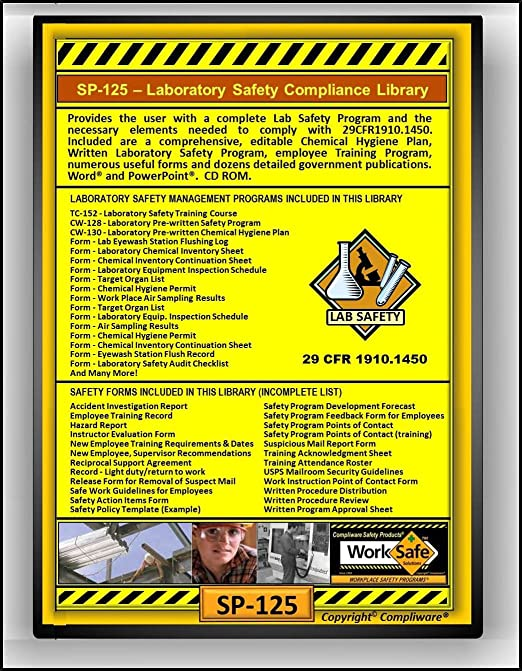 Sp 125 laboratory safety compliance library osha 29 cfr 1910.1450 upc 639737375121