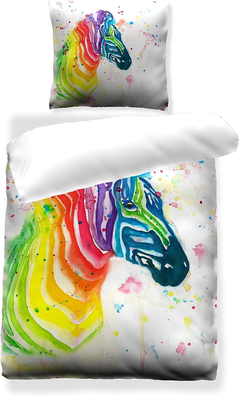 Satinbettw/äsche 135x200 cm 100/% Baumwolle Design Rainbow Zebra