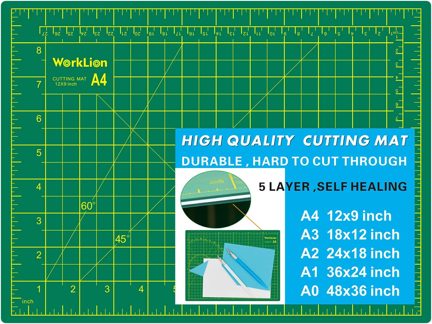 "WORKLION Full 9"" x 12"" Art Self Healing PVC Cutting Mat, Double Sided, Gridded Rotary Cutting Board for Craft, Fabric, Quilting, Sewing, Scrapbooking Project"