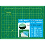 """WORKLION Full 9"""" x 12"""" Art Self Healing PVC Cutting Mat, Double Sided, Gridded Rotary Cutting Board for Craft, Fabric…"""