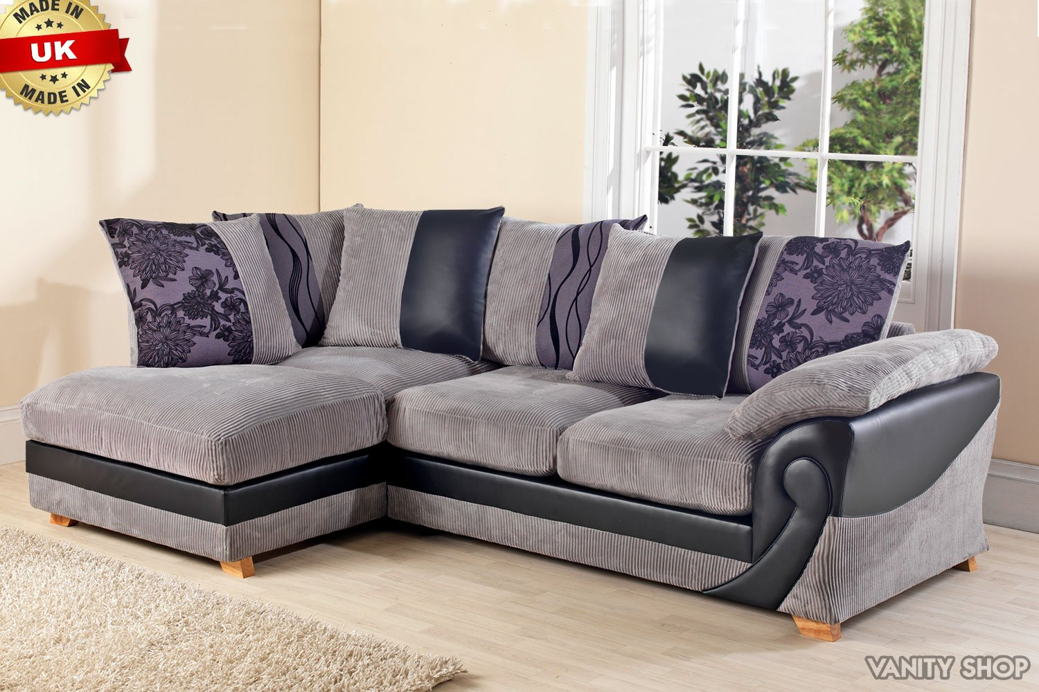 new illusion corner group sofa settee leather fabric right hand left rh amazon co uk