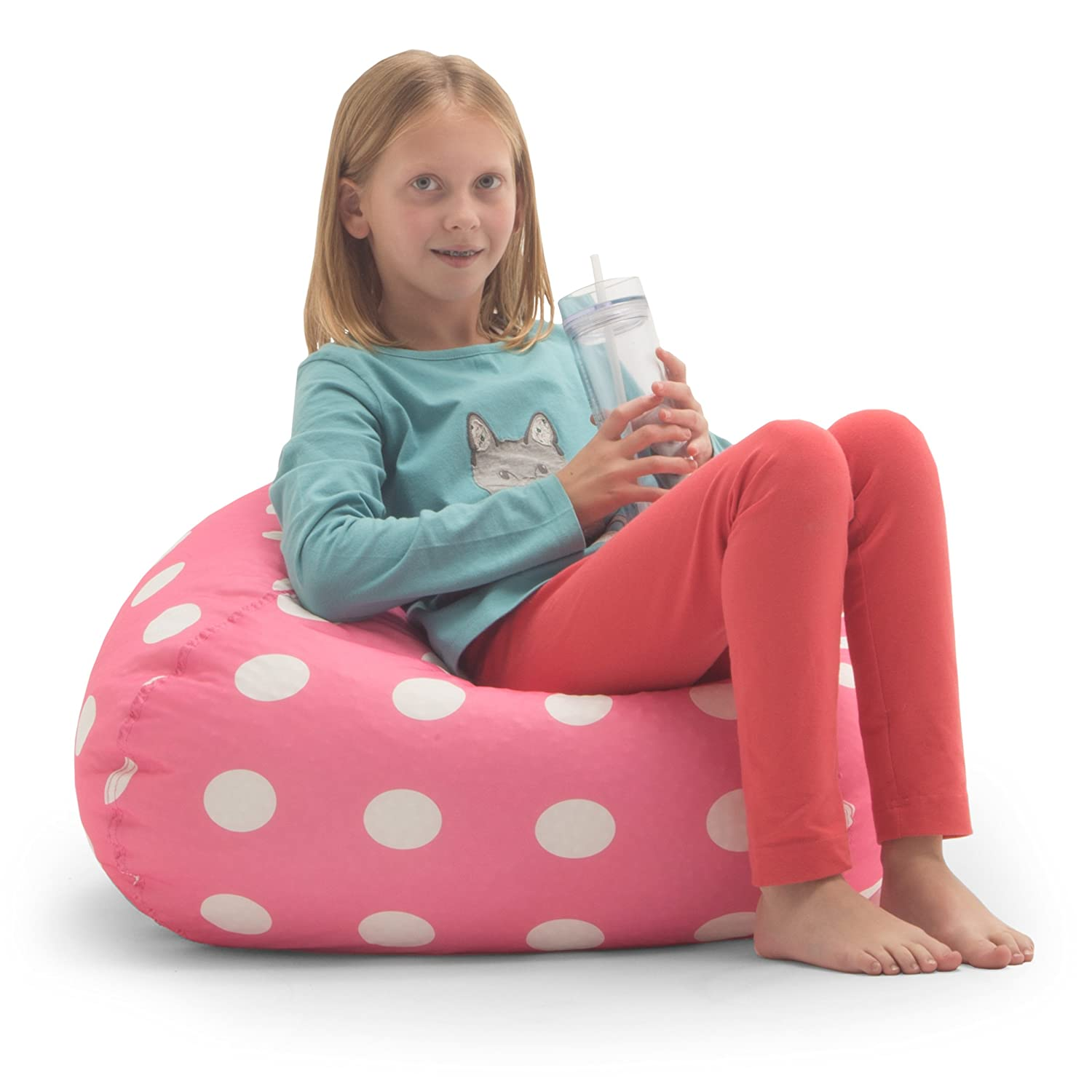 Amazon Big Joe Classic Bean Bag Chair Candy Pink Polka Dot