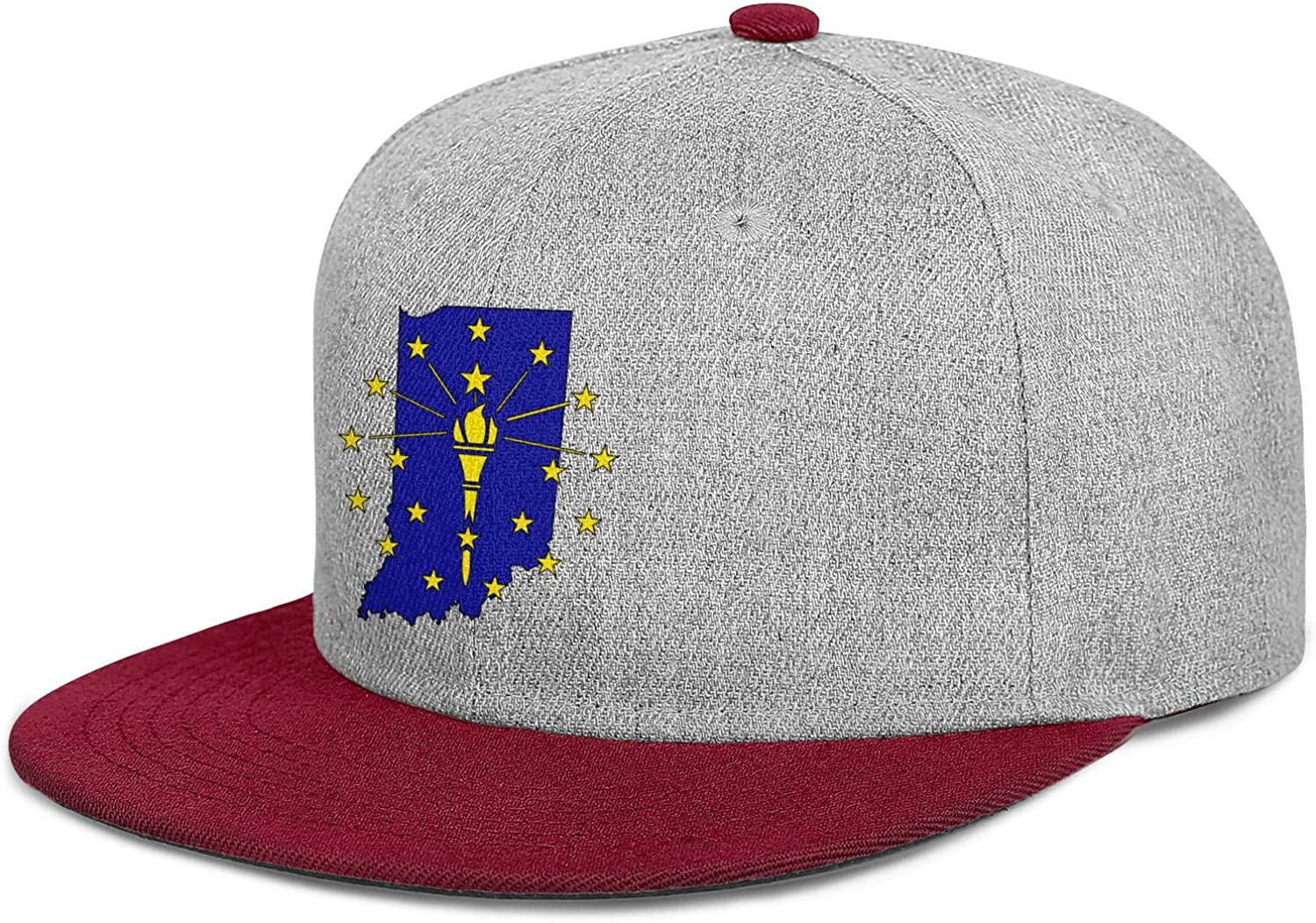 FYFYOK Mens Womens Dad Hat Flag and Map of Indiana Snapback Casual Caps
