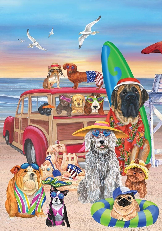 Dog Days of Summer House Flag Beach Surfboards Sandcastle 28