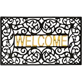 gbHomeGH-6759A Entrance Doormat, Waterproof PVC Welcome Door Mat w/Non-Slip Backing, Easy to Clean Stylish Outdoor Mat, Front and Back Door, Garage or Porch Entryway, Poolside, Patio