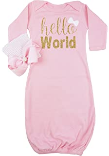 260820a57 Posh Peanut Hello World Infant Baby Gown Layette Soft Sleeper Newborn  Girl's Soft Beanie Girl Outfit