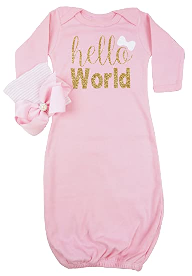 Image Unavailable. Image not available for. Color  Posh Peanut Hello World  Infant Baby Gown Layette Soft Sleeper Newborn Girl s ... b8d010e6b927