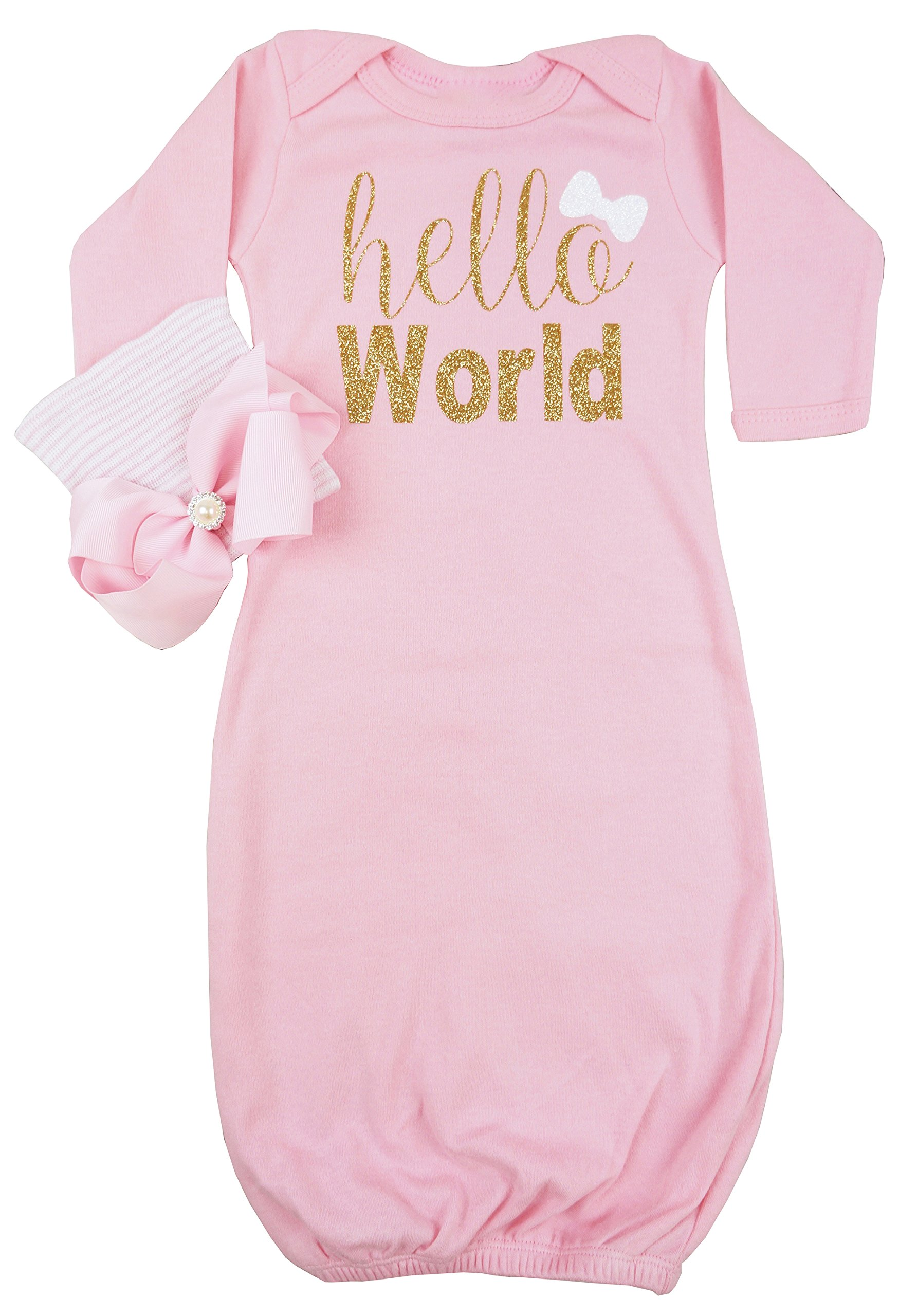 Amazon com posh peanut hello world infant baby gown layette soft sleeper newborn girls soft beanie girl outfit pink gold clothing