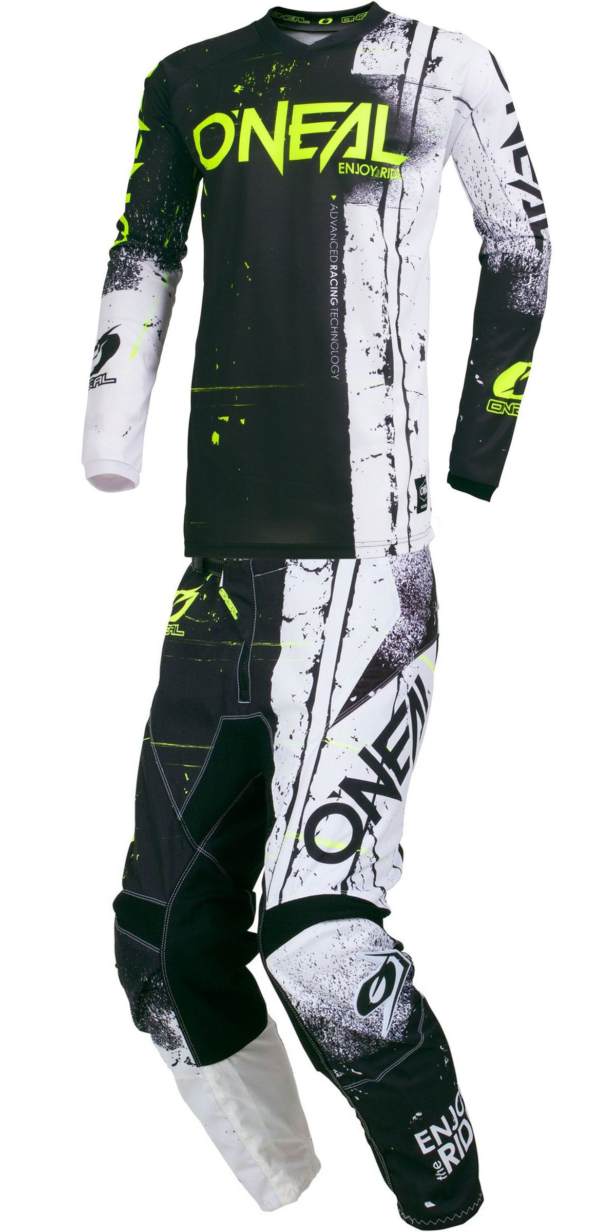 O'Neal - 2019 Element Shred (Mens Black Large/32W) MX Riding Gear Combo Set, Motocross Off-Road Dirt Bike Jersey & Pant