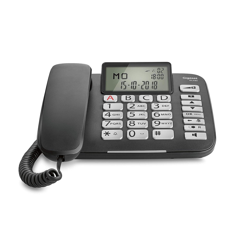 Tel/éfono anal/ógico, Terminal con conexi/ón por Cable, Altavoz, 99 entradas, Identificador de Llamadas, Negro Tel/éfono Gigaset DL580
