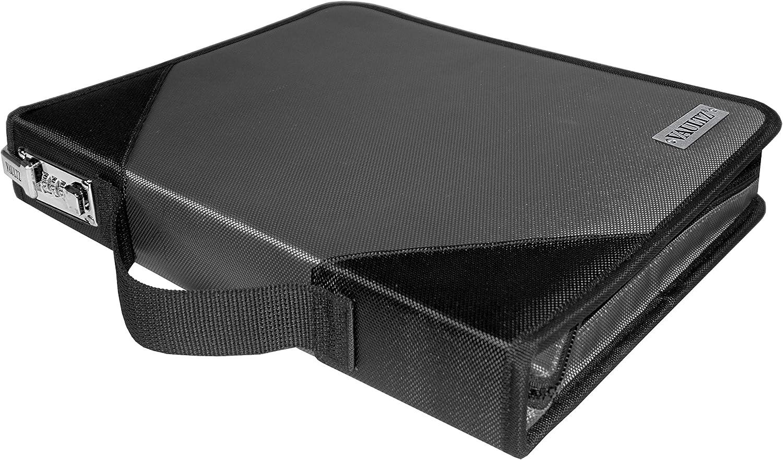 2.28 x 11.22 x 14 VZ03612 Vaultz Locking Zipper Binder Grey//Black