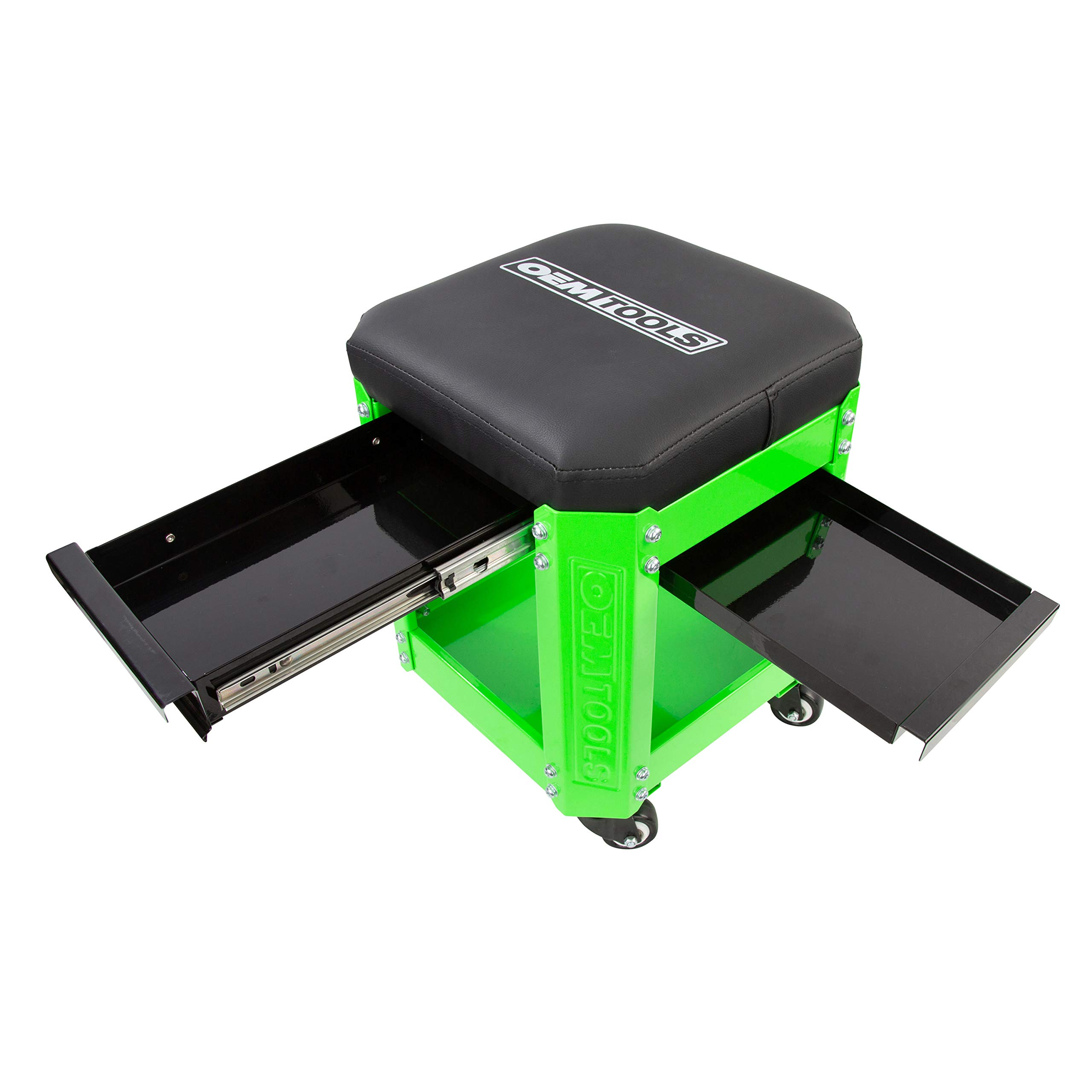 OEMTOOL 24993 Green Rolling Workshop Creeper Seat with 2 Tool Storage Drawers Under Seat Storage Can Holders by OEMTOOLS (Image #2)