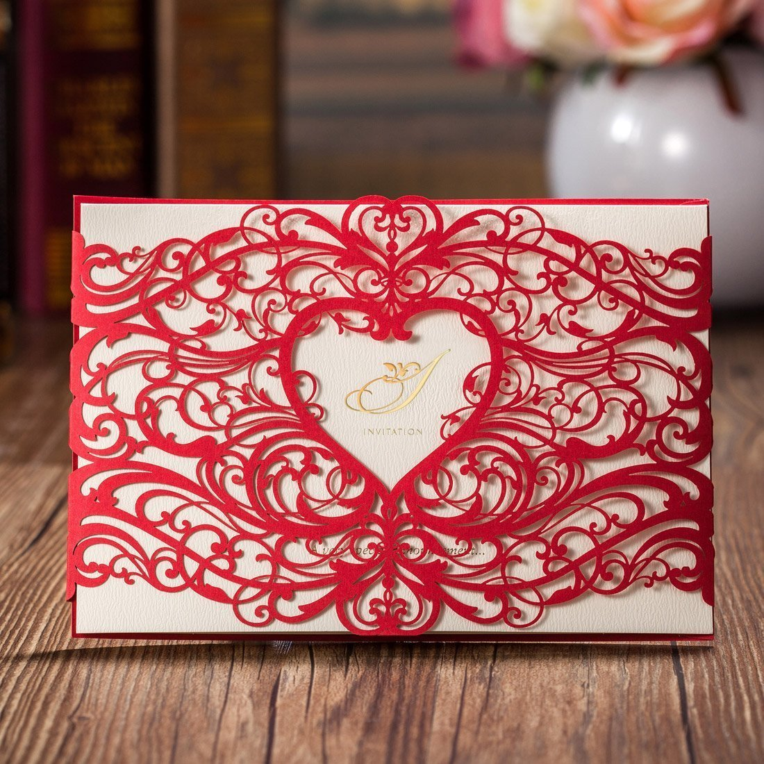 VStoy Red Laser Cut Wedding Invitations Cards Sets Engagement Hollow ...