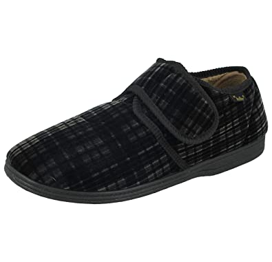 2cd0cc5dc30 Men s Dr Keller Dr Don Wide Fitting Velcro Check Slipper With Memory Insole  (Grey)