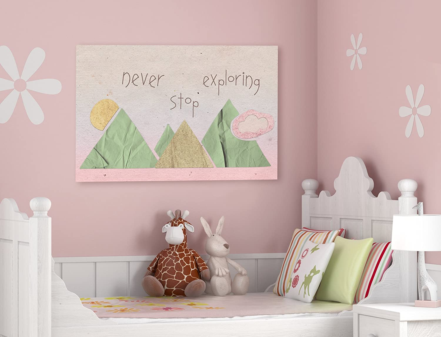 The Stupell Home D/écor Collection Never Stop Exploring Mountain Collage Pink Stretched Canvas Wall Art 16 x 20