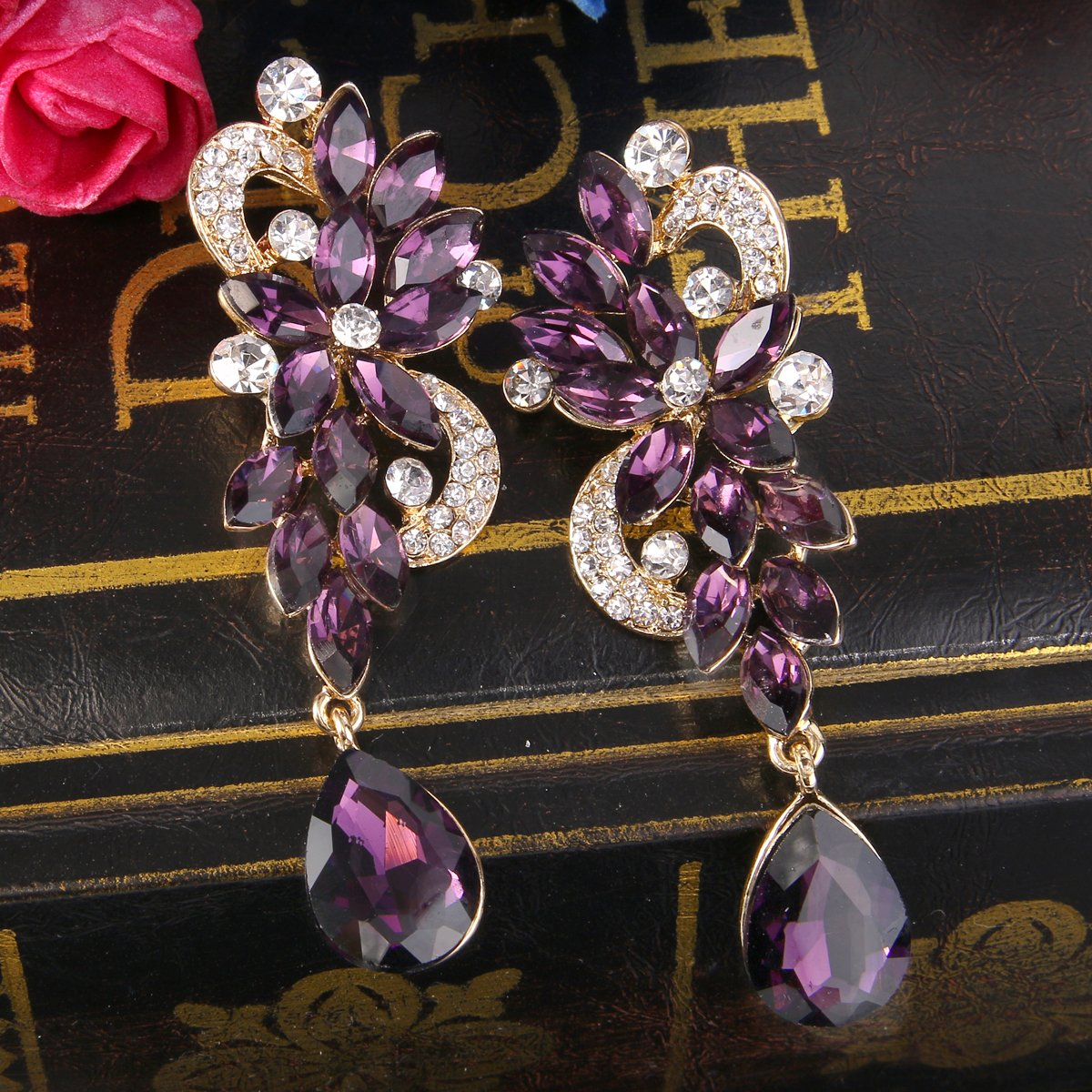 BriLove Women's Wedding Bridal Dangle Earrings Bohemian Boho Crystal Flower Chandelier Teardrop Bling Earrings Amethyst Color Gold-Tone by BriLove (Image #4)