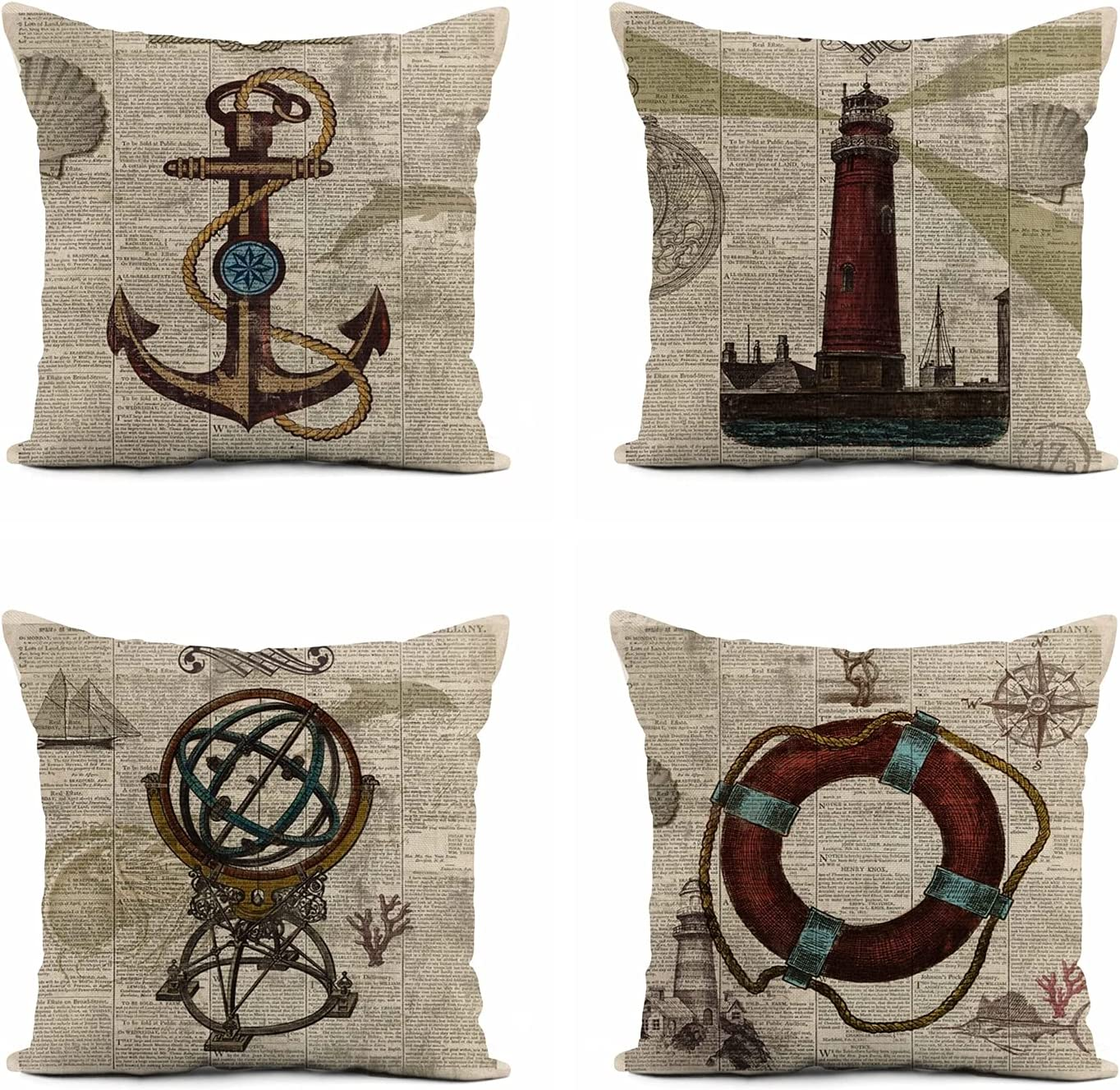 rouihot Set of 4 Linen Throw Pillow Covers 16x16 Inch Vintage Poster Nautical Home Decor Pillowcase Square Cushion Cover for Sofa Bed Couch