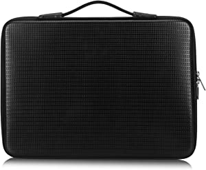 "FYY 12""-13.3"" [Waterproof Leather] [Solid Hard Shape] Laptop Sleeve Bag Case with Inner Tuck Net Fits All 12-13.3 Inches Laptops, Notebook, MacBook Air/Pro, Tablet, iPad Black"