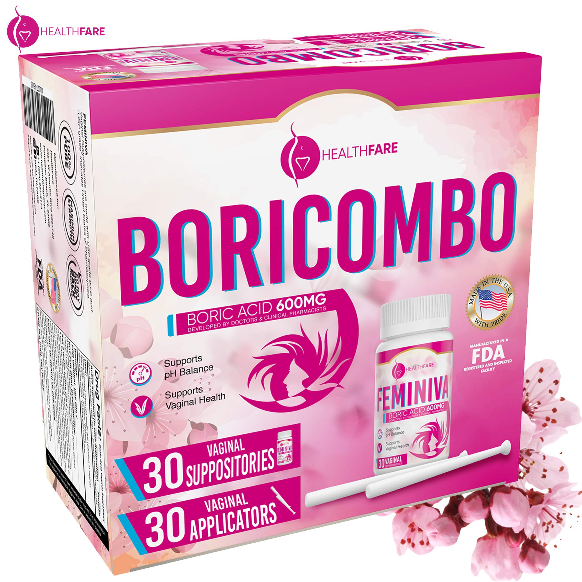 BoriCombo Boric Acid Vaginal Suppositories 600mg 30Count w/ 30 Vaginal Applicators - Feminine Hygiene Kit - pH Balance for Women, Feminine Care - Made in USA