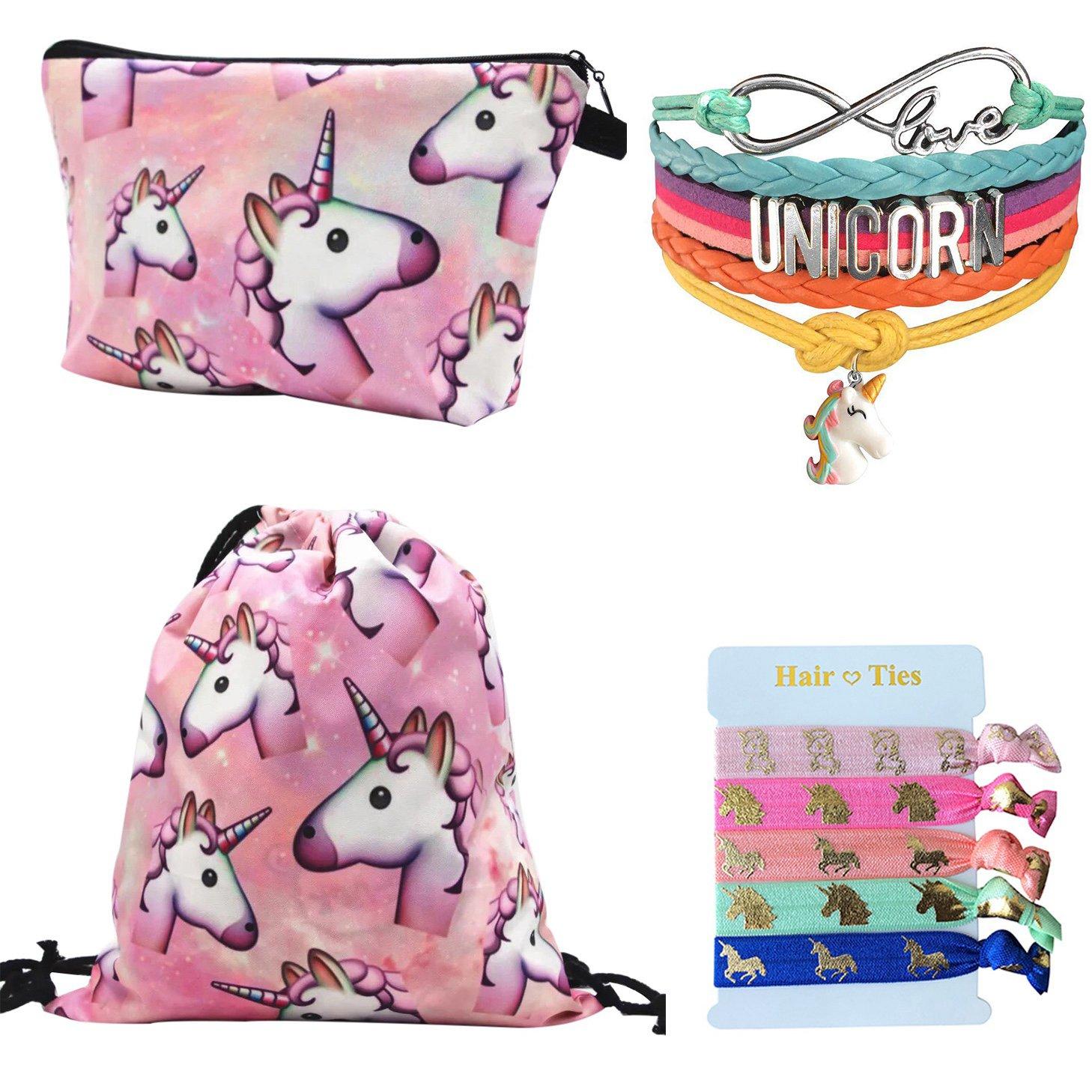 Unicorn Gifts 4 Pack - Unicorn Drawstring Backpack/Makeup Bag/Rainbow Bracelet/Hair Tie (Pink 2)