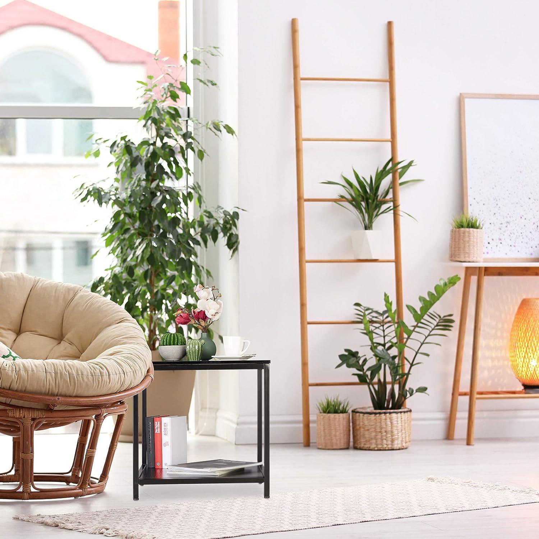 Nero Mobiletto Quadrato Design Moderno HxLxP: 51 x 50,5 x 50,5 cm Relaxdays Tavolino con Ripiani Metallo /& MDF Metallo