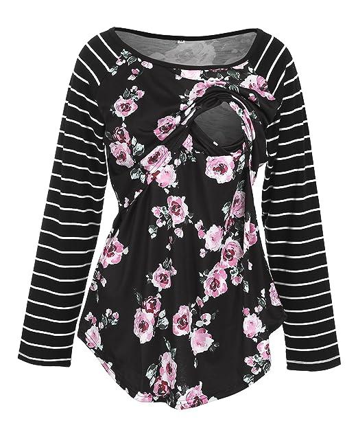 e31a9f8ea7a MIOMI Womens Long Sleeve Floral Stripe Round Neck Mom Postpartum Nursing  Breastfeeding Top (Black,