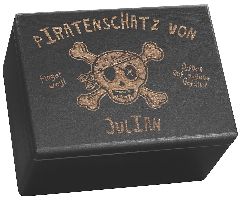 LAUBLUST Gro/ße Holzkiste personalisiert mit Piraten-Schatz Gravur Deko-Kasten Schwarz Erinnerungsbox 40x30x24 cm Aufbewahrungskiste FSC/® Geschenk-Kiste zum Geburtstag Spielzeug-Truhe
