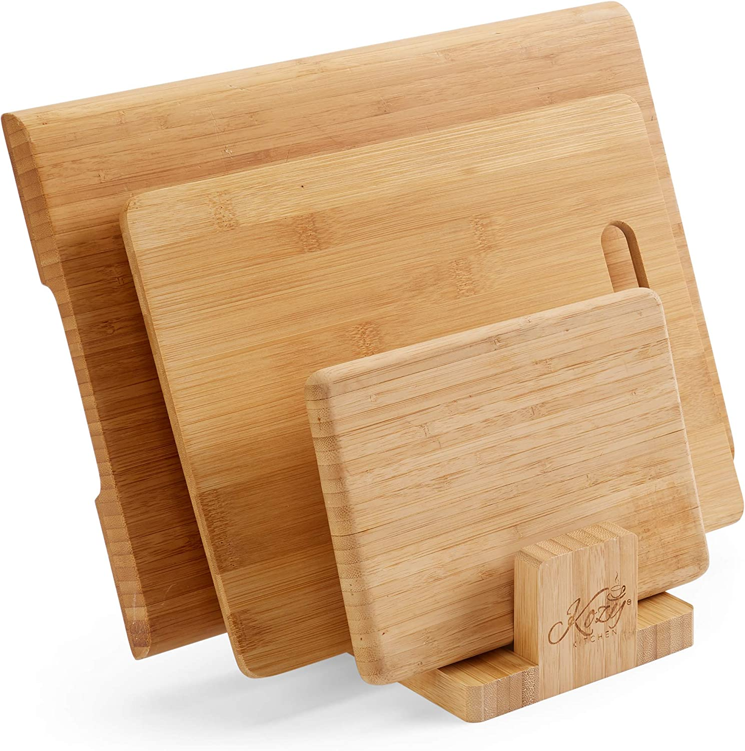 Amazon Com Cutting Board Organizer Natural Bamboo Kitchen Pantry Rack Cabinet Organizer For Cutting Board Dish Bakeware Plate Pot Lid Cook Books Book Stand Holder By Kozy Kitchen Kitchen Dining