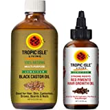 """Tropic Isle Living Jamaican Black Castor Oil 8oz & Strong Roots Red Pimento Hair Growth Oil 4oz""""SET"""""""