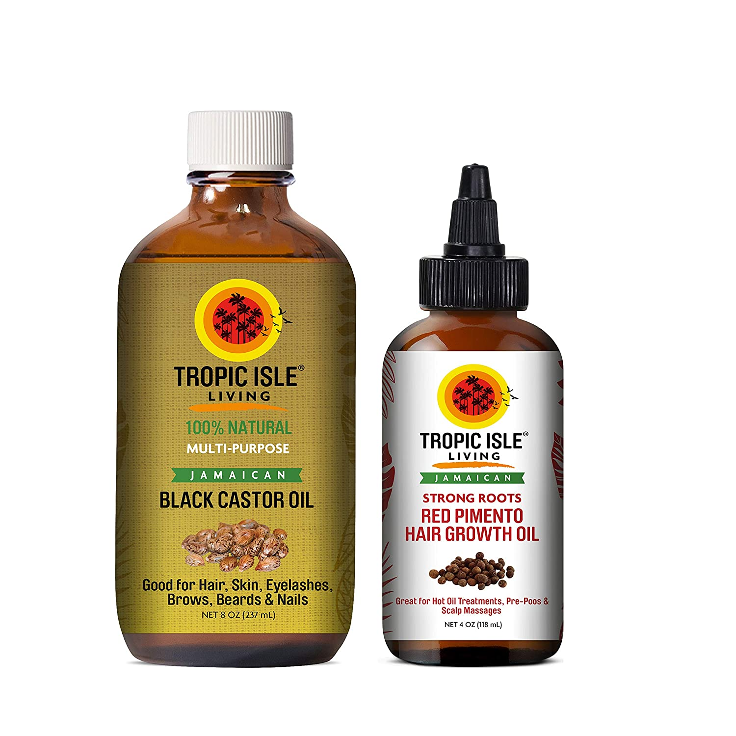 Tropic Isle Living Jamaican Black Castor Oil 8oz & Strong Roots Red Pimento Hair Growth Oil 4oz SET