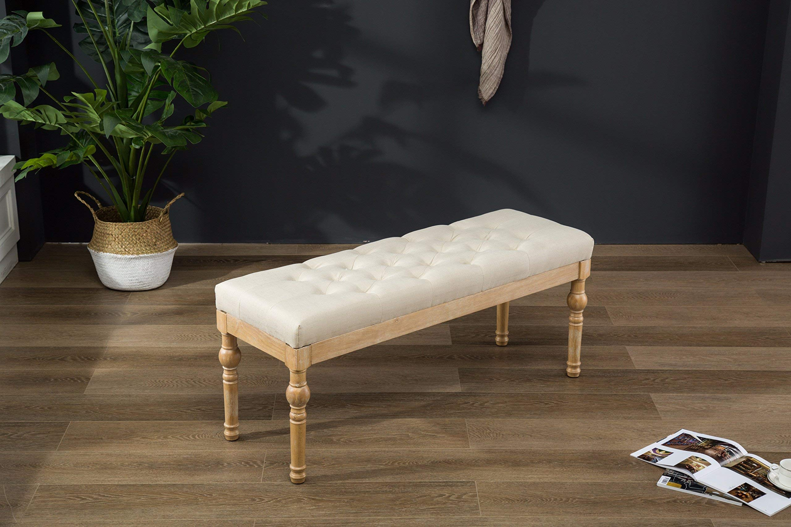 Roundhill Furniture CB161TA Habit Solid Wood Button Tufted Dining Bench, Beige