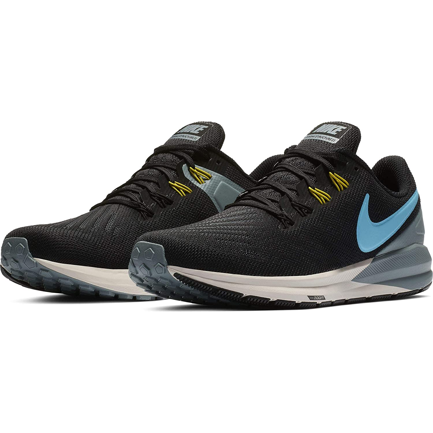 finest selection ec25e 637ad Nike Men's Air Zoom Structure 22 Running Shoe Black/Blue Fury/Aviator Grey  Size 14 M US