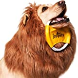 JOY4PETS Lion Mane for Dog + Frisbee - Premium Quality, Realistic, Hilarious & Eye Catching Dog Lion Mane - Dog Costume with Ears - Comfortable Lion Wig for Medium and Large Dogs - Perfect Dog Gift