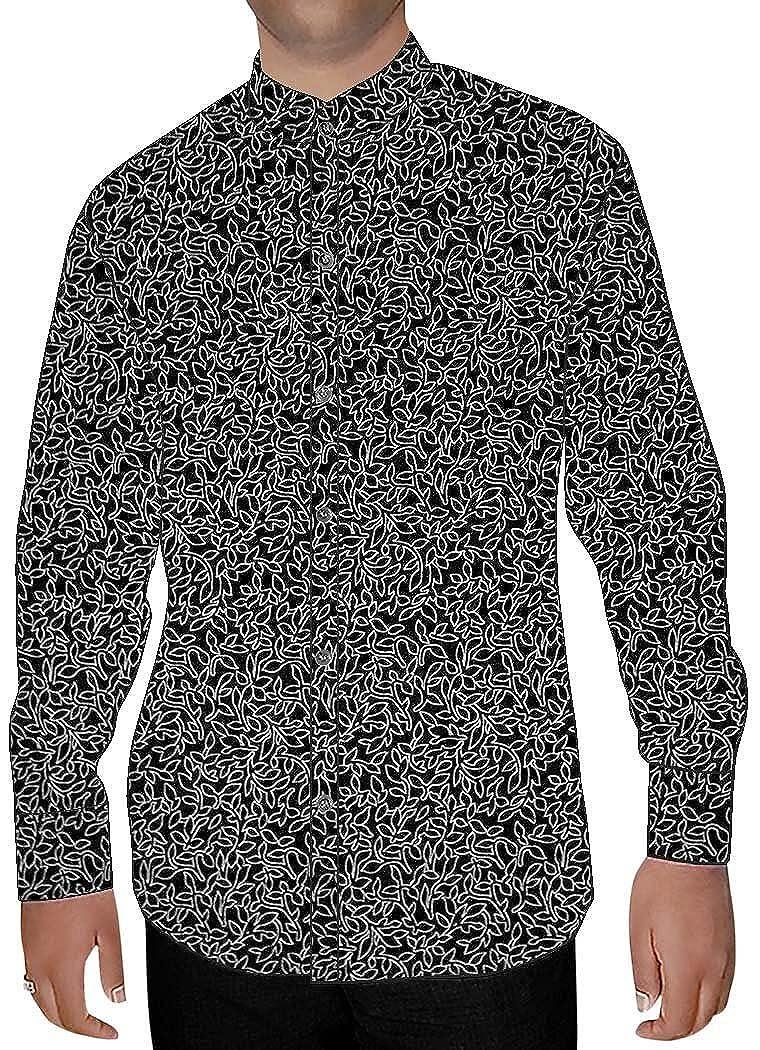 INMONARCH Mens Black Printed Cotton Nehru Shirt White Lining NSH14447CUSTOM-MADE Custommade Black