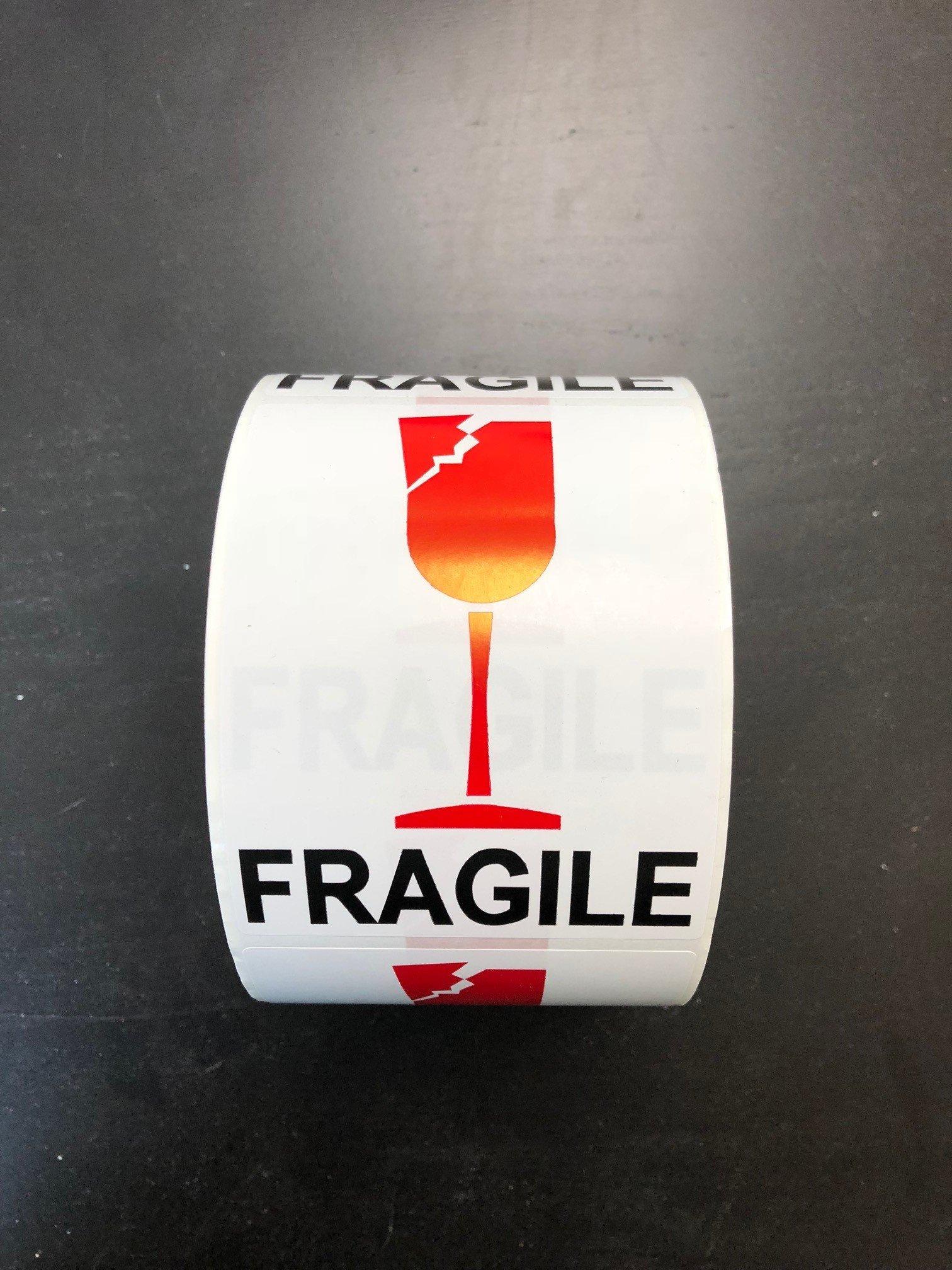 Broken Wine Fragile Labels, 500 Labels, 3'' x 4'' Art Coated Paper [1 Roll of 500]