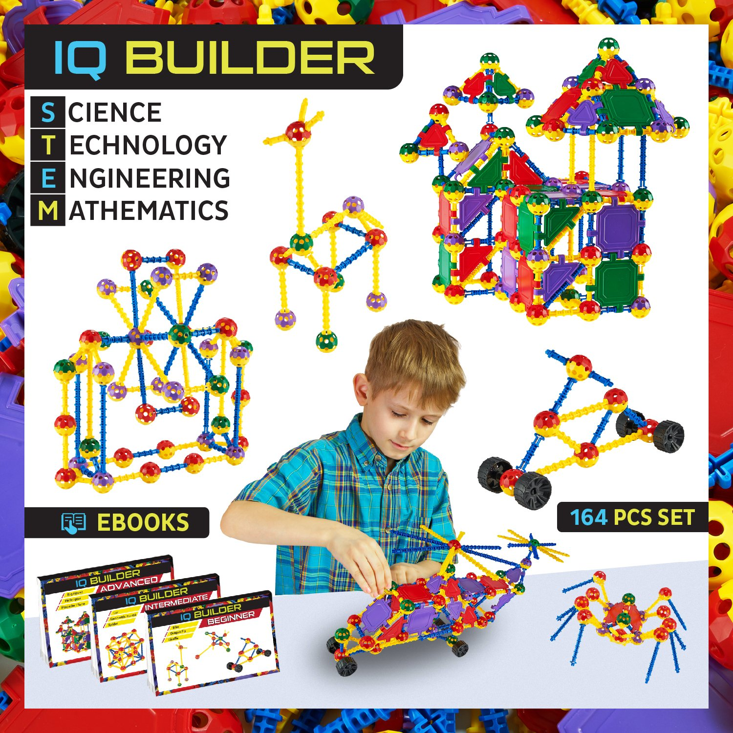 IQ BUILDER | STEM Learning Toys | Creative Construction Engineering | Fun Educational Building Blocks Toy Set for Boys and Girls Ages 5 6 7 8 9 10 Year Old + | Best Toy Gift for Kids | Activity Game Review