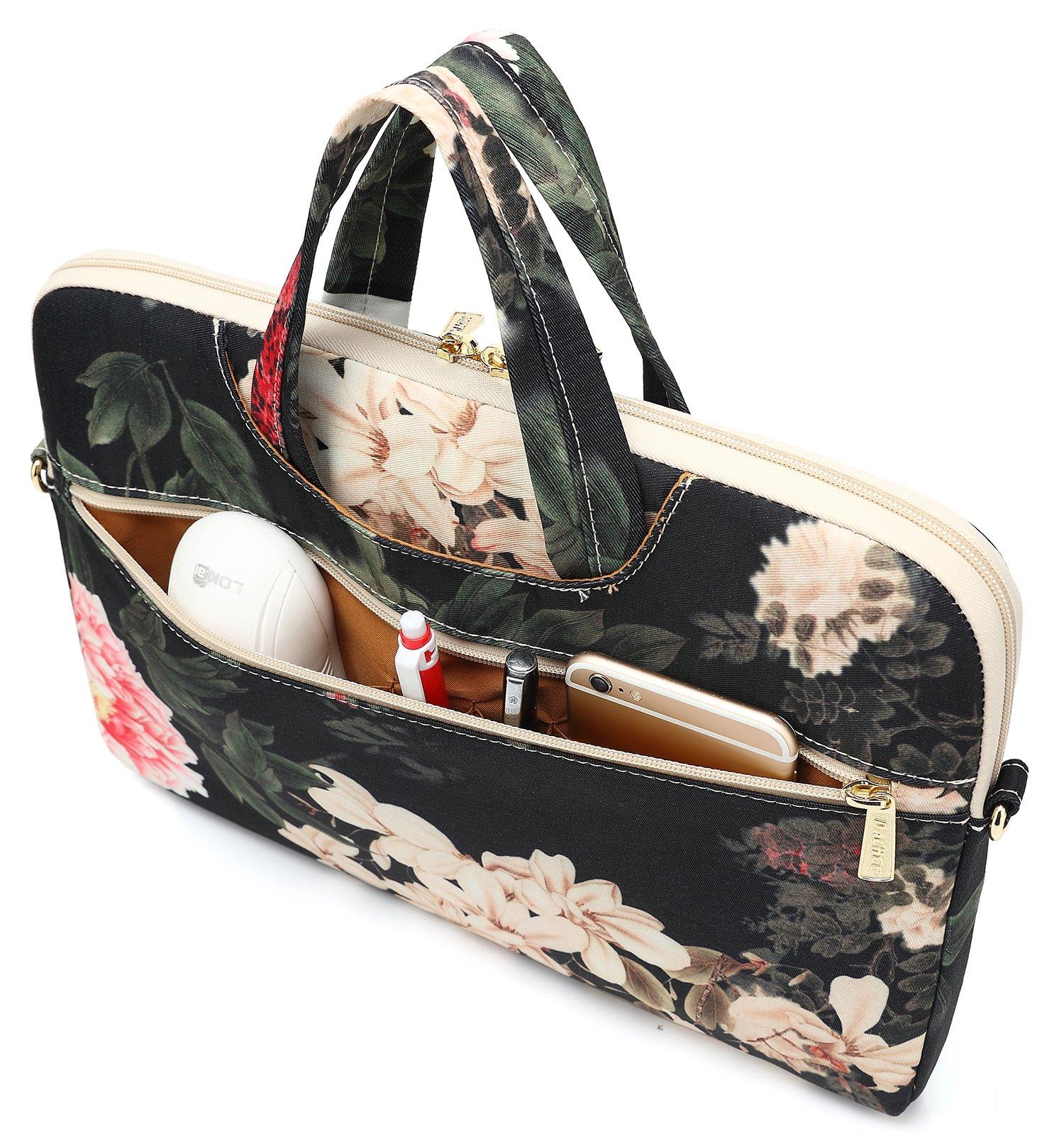 DACHEE Black Peony Patten Waterproof Laptop Shoulder Messenger Bag Case Sleeve for 14 Inch 15 Inch Laptop Case Laptop Briefcase 15.6 Inch by DACHEE (Image #2)