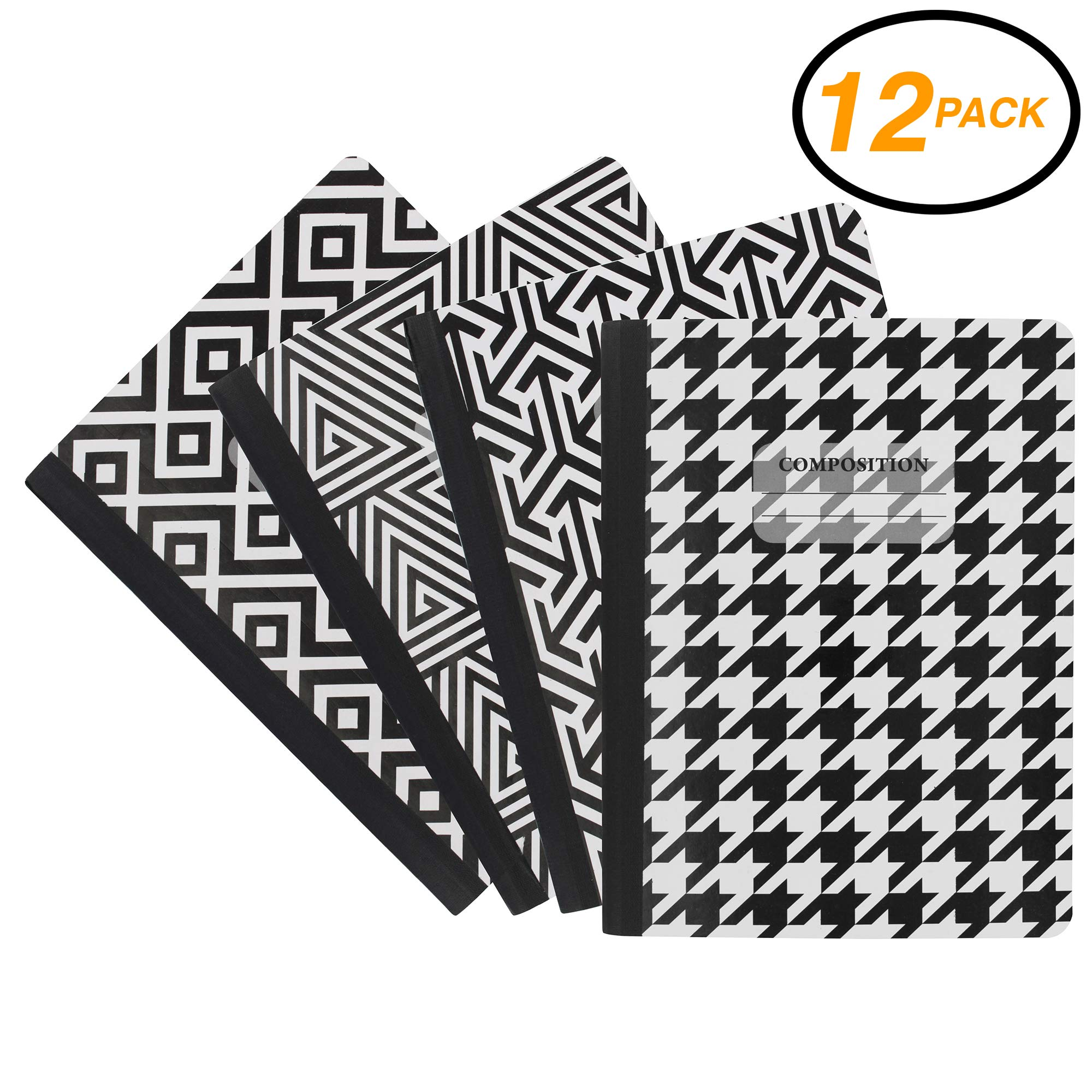 Emraw Black & White 4 Fashion Styles Cover Composition Book with 100 Sheets of Wide Ruled White Paper - Set Includes All Style Covers (12 Pack)