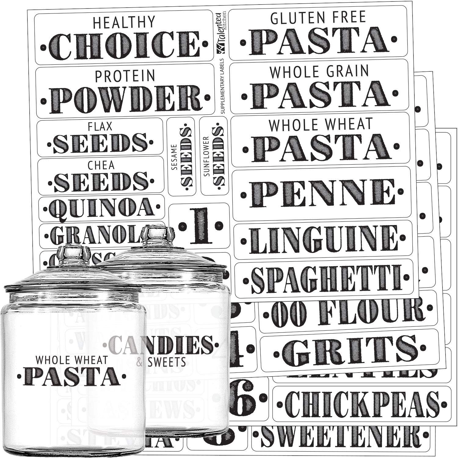 Talented Kitchen Farmhouse Pantry Labels – 72 Healthy Ingredients – Food Pantry Label Sticker. Water Resistant, Food Jar Labels. Jar Decals Pantry Organization Storage (Set of 72 – Non Main Pantry)
