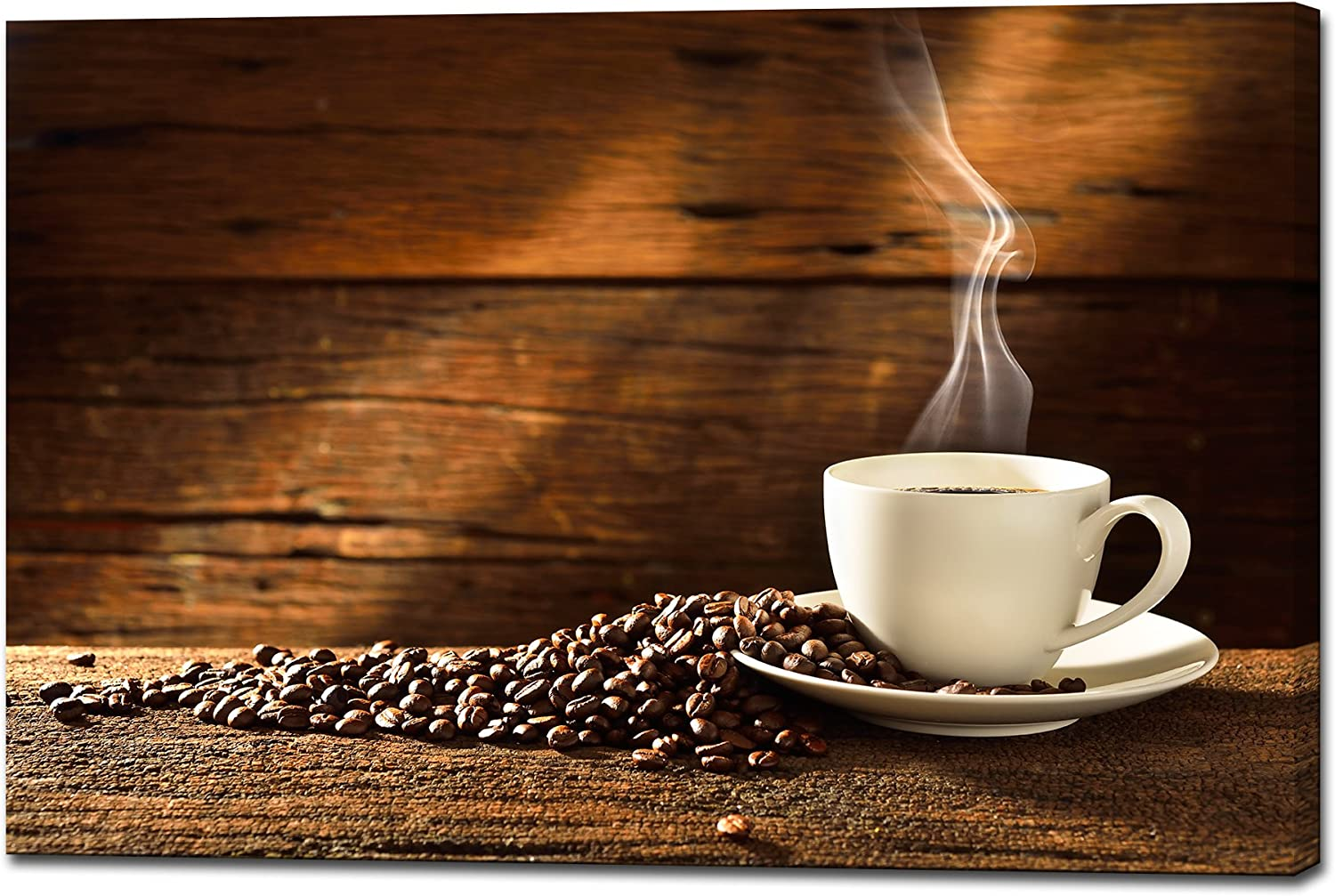 Amazon Com Wall26 Canvas Wall Art Coffee Cup And Coffee Beans On Old Wooden Background Giclee Print Gallery Wrap Modern Home Art Ready To Hang 24 X 36 Posters Prints
