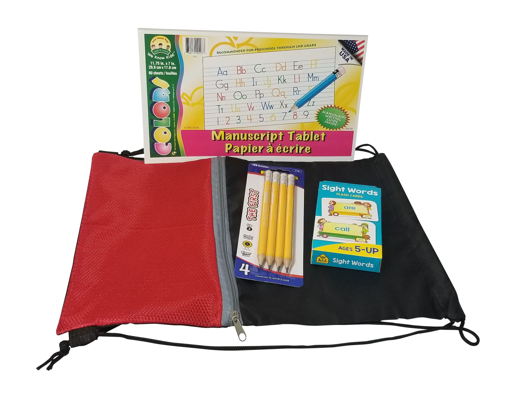 Early Elementary Learning Bundle Includes Jumbo Writing Pencils, Manuscript Writing pad, Sight Word Flash Cards, and Drawstring Storage Bag