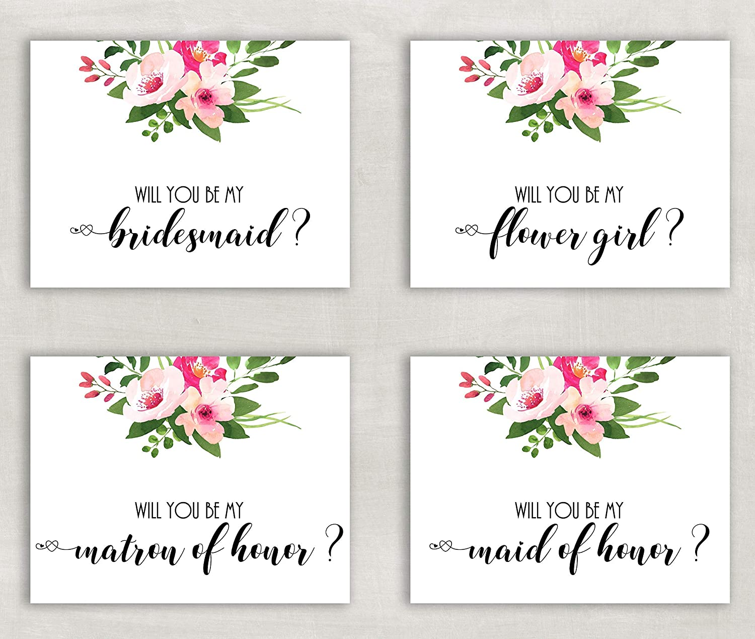 Will you be my Bridesmaid Wedding Floral Card Personalised