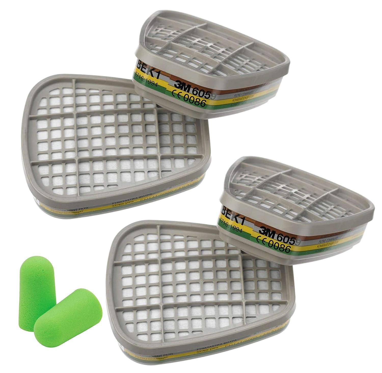 3M Filtros 6059 ABEK1 para Mascarillas - Filtro de Gases y Vapores, 4 piezas (2 pares) + Tapones para los oídos SmartProduct – Bundle
