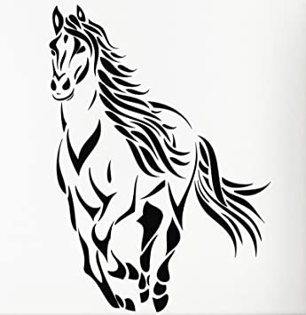 Large animal run horse mustang wall decal sticker living room stickers high 105cm wide 78cm black
