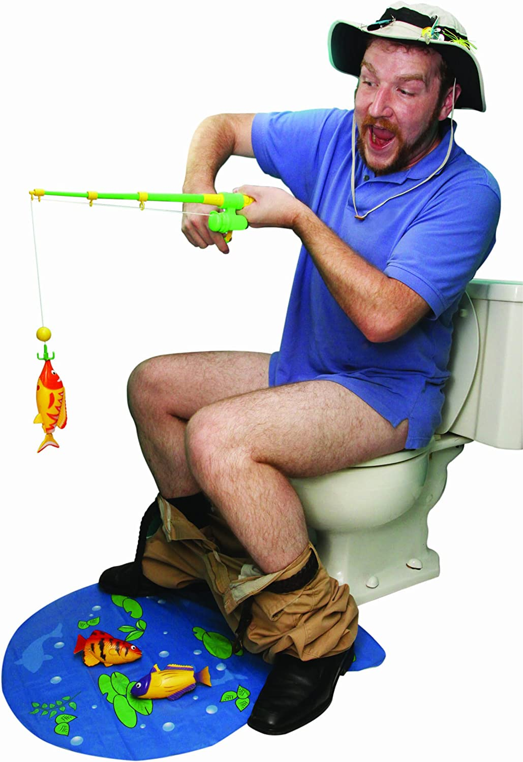10 pieces Island Dogs Toilet Fishing Novelty Game Set