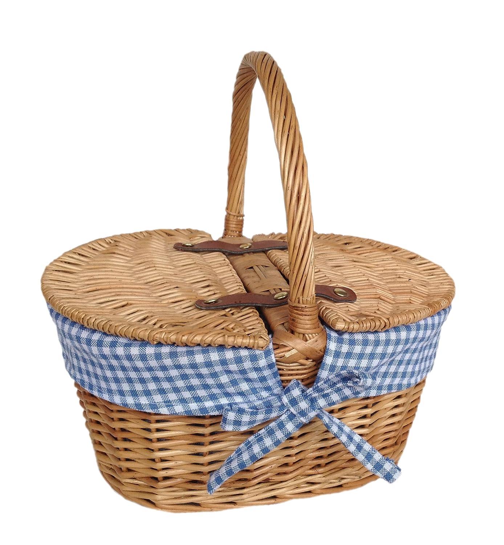 Oval blau ges/äumt Picknickkorb