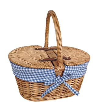 Blue Mini Lined Double Lidded Picnic Basket