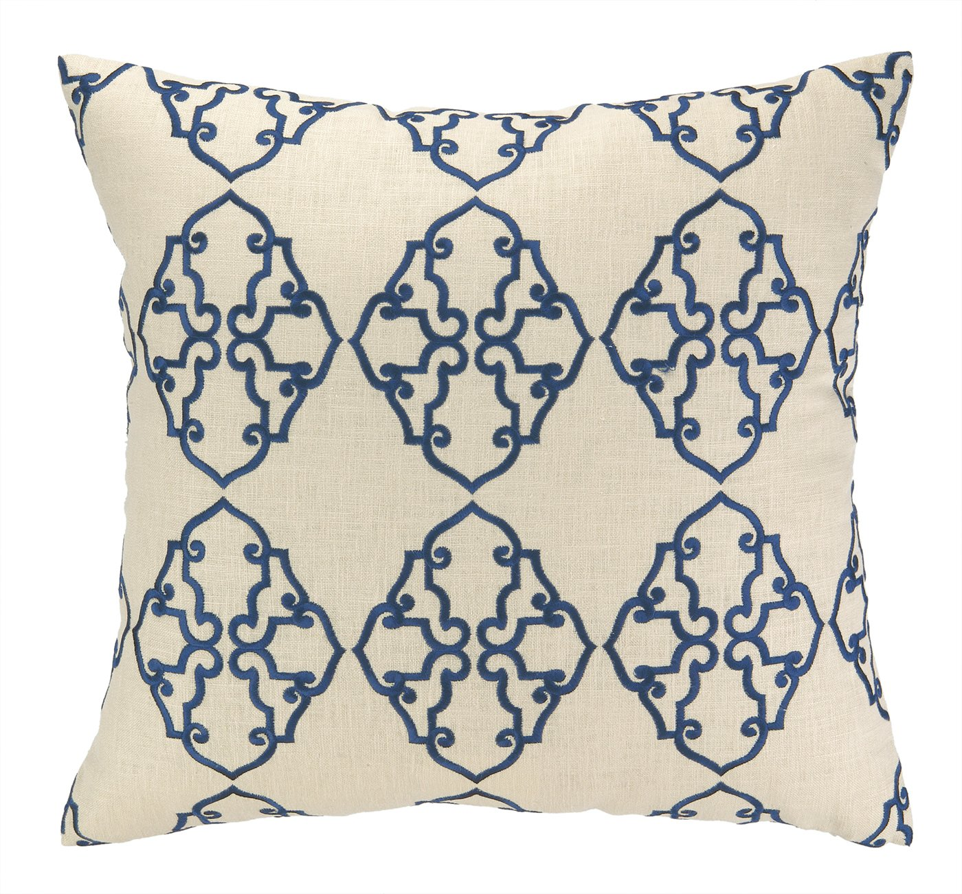 Navy Blue 20 by 20-Inch D.L Rhein Filigree Embroidered Decorative Pillow