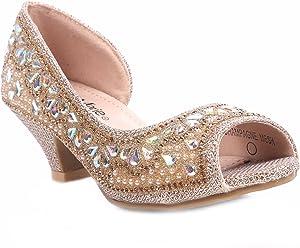 "0685015704 Bella Marie Fashion Rhinestones Kids Blink Blink Peep Toe Slip on Girls  1.5"" Kitten Heels"