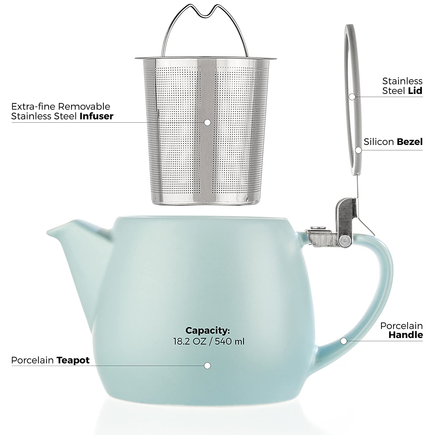 - Matte Finish Pluto Porcelain Small Teapot Turquoise Stainless Steel Lid and Extra-Fine Infuser To Brew Loose Leaf Tea 1-2 cups Tealyra 18.2-ounce Ceramic Tea Brewer 540ml